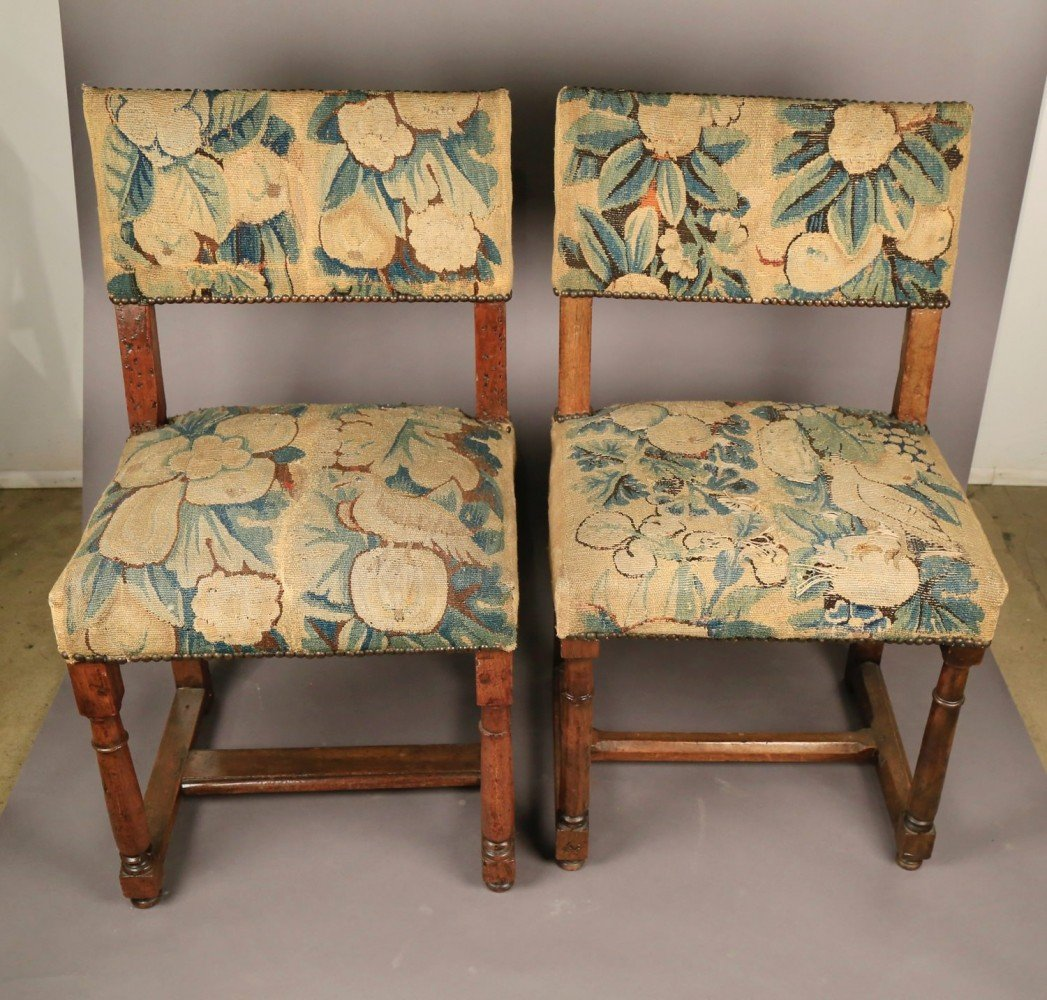 Oak Decorative Arts: A Pair of Continental Oak Side Chairs, Upholstered in Verdure Tapestry