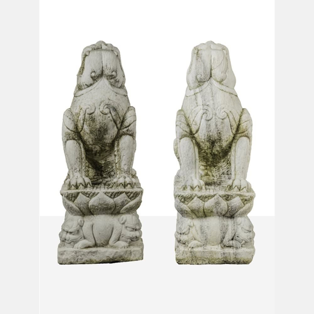 A Pair of Chinese Carved Marble Winged Foo Dogs