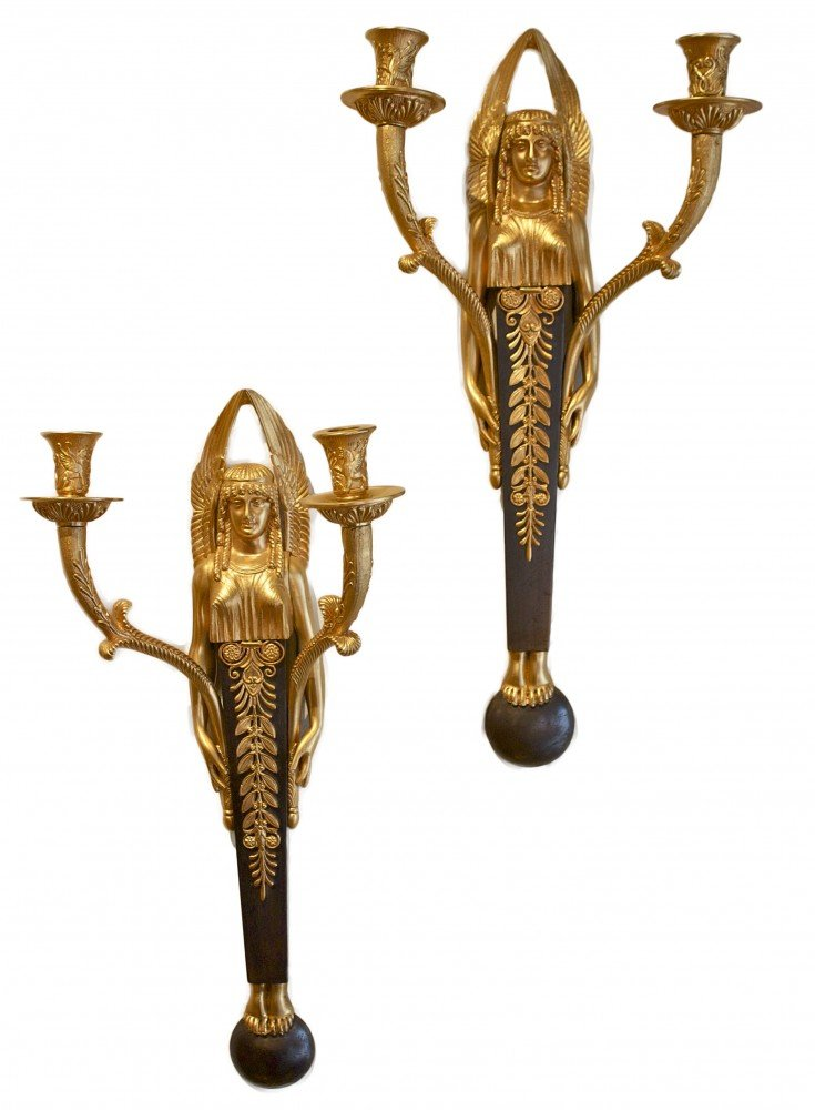 A Pair of French Empire Two Light Wall Sconces