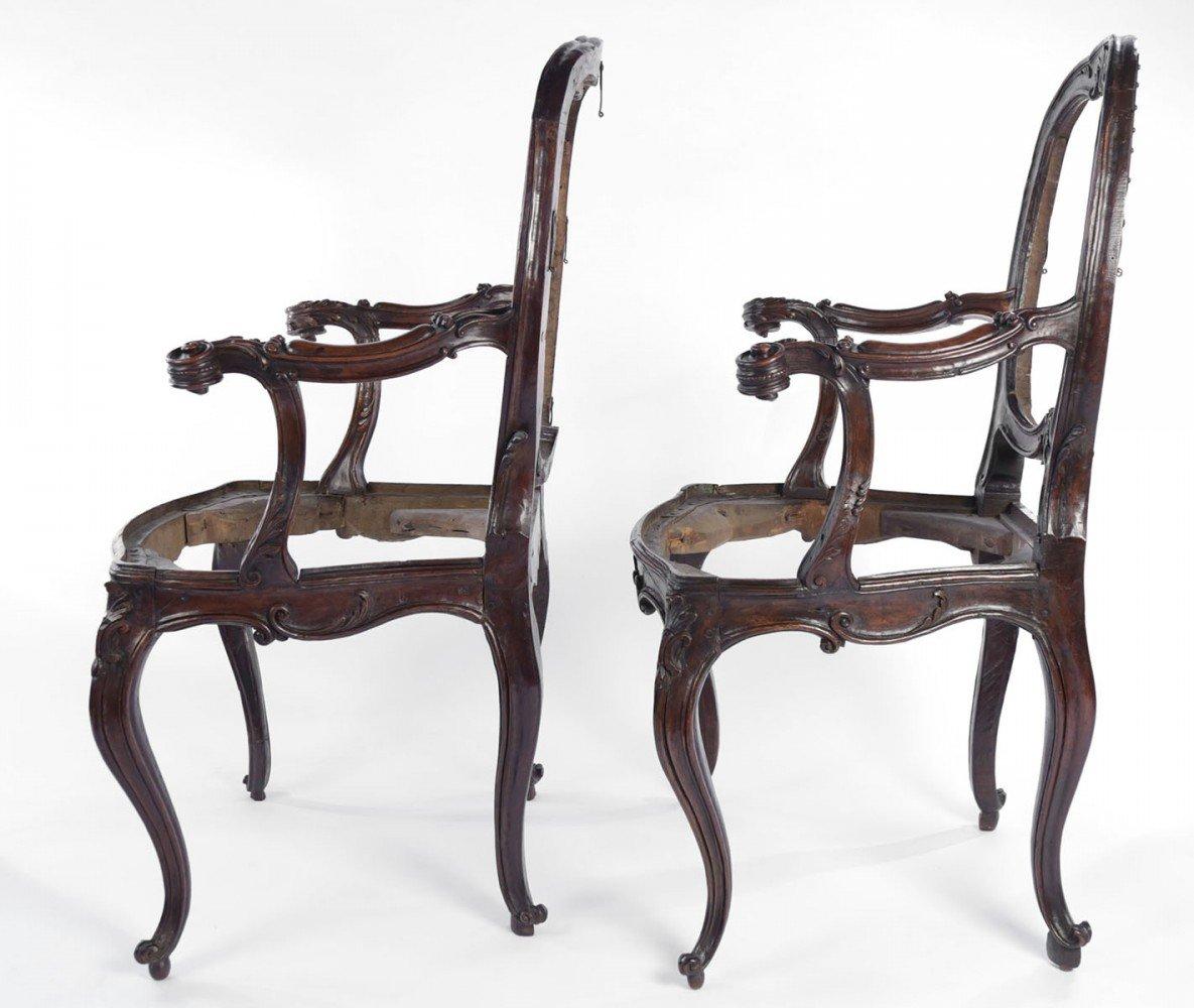 Pair Italian Walnut Armchairs, Rococo, 18thc.