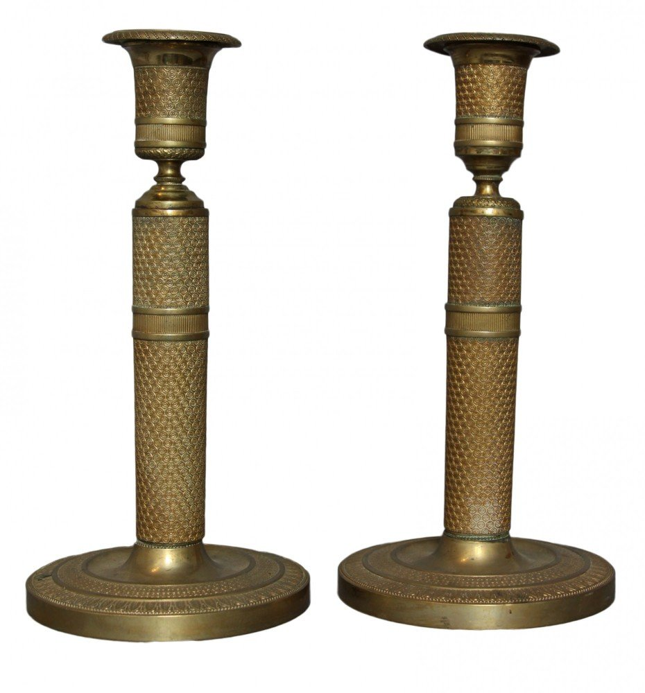 A Pair of French Empire Bronze Candlesticks