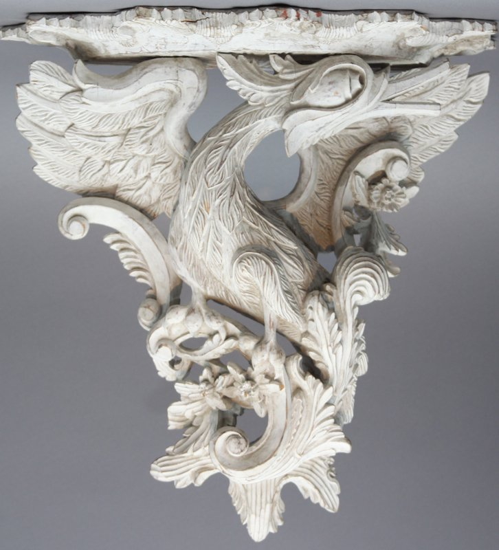 A Pair of Georgian Style Carved and Painted Bird Form Wall Brackets