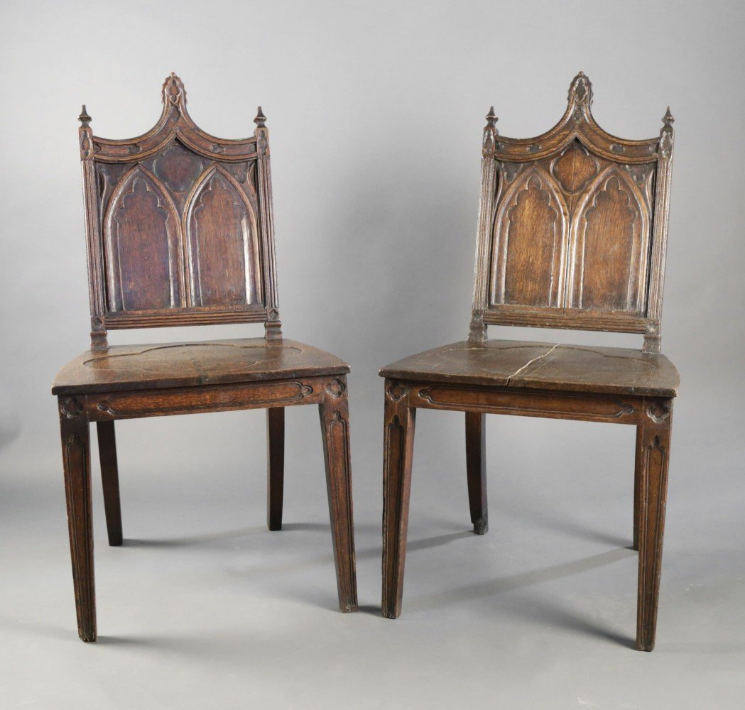 Pair Gothic Style English Oak Hall Chairs  by 19thc. British School