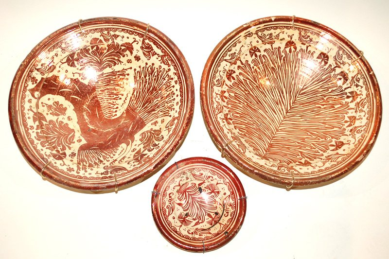 A Pair of Hispano-Moresque Lustre Bowls, Eagle and Frond Design
