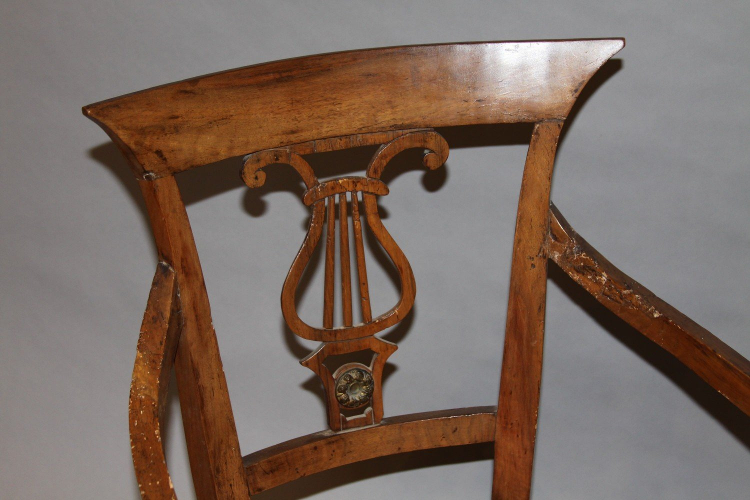 A Pair of Italian Neoclassical Fruitwood Armchairs