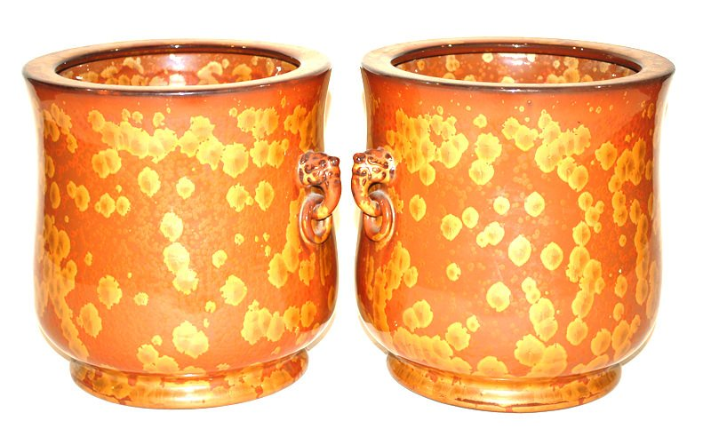 A Pair of Japanese Hibachi, Gold Lacquer Splatter Technique
