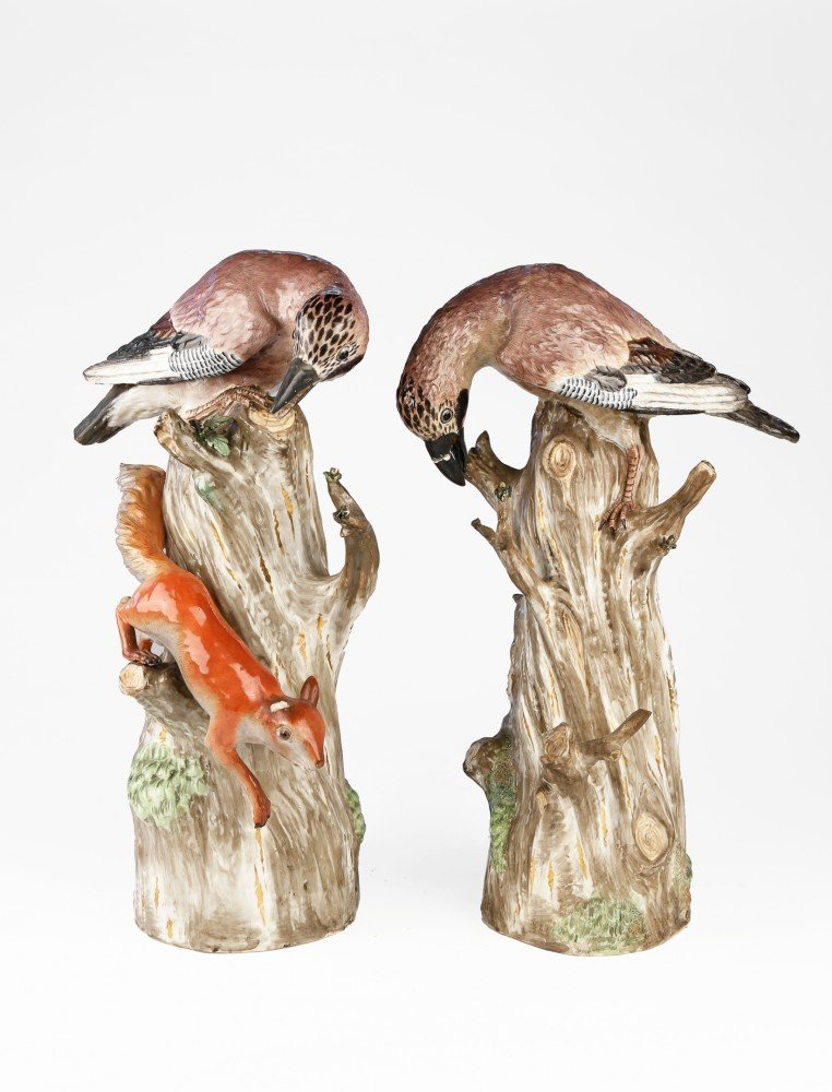 Pair of Mission (Kandler) Porcelain Birds, Late 18th century