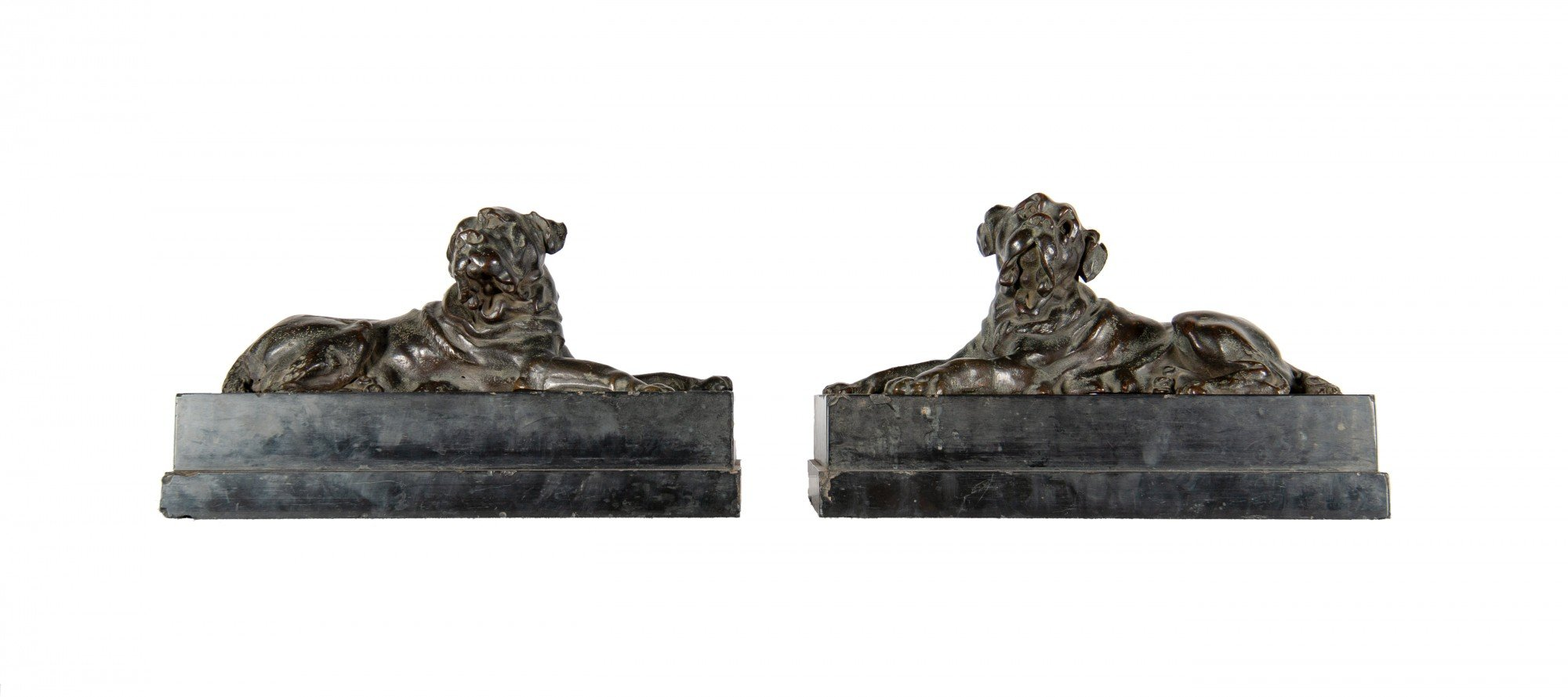A Pair of Bronze Mastiffs