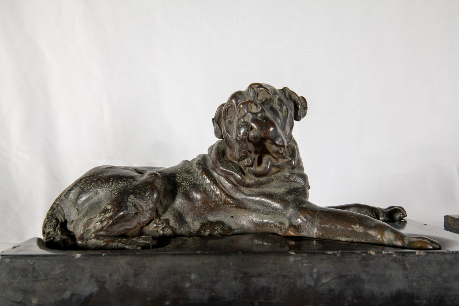 A Pair of Bronze Mastiffs