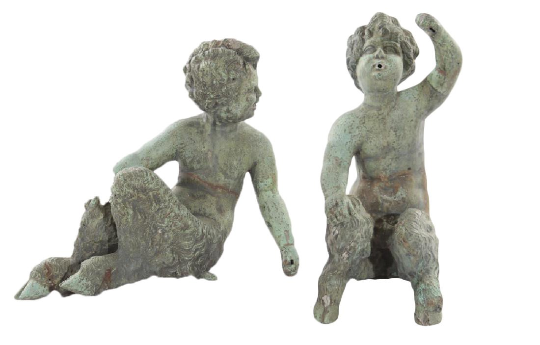 Pair of 18th/19th Century Bronze Fountain Figures