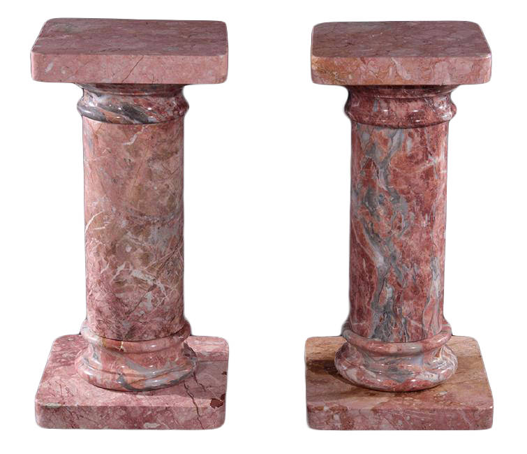 A Pair of Red Marble Pedestals