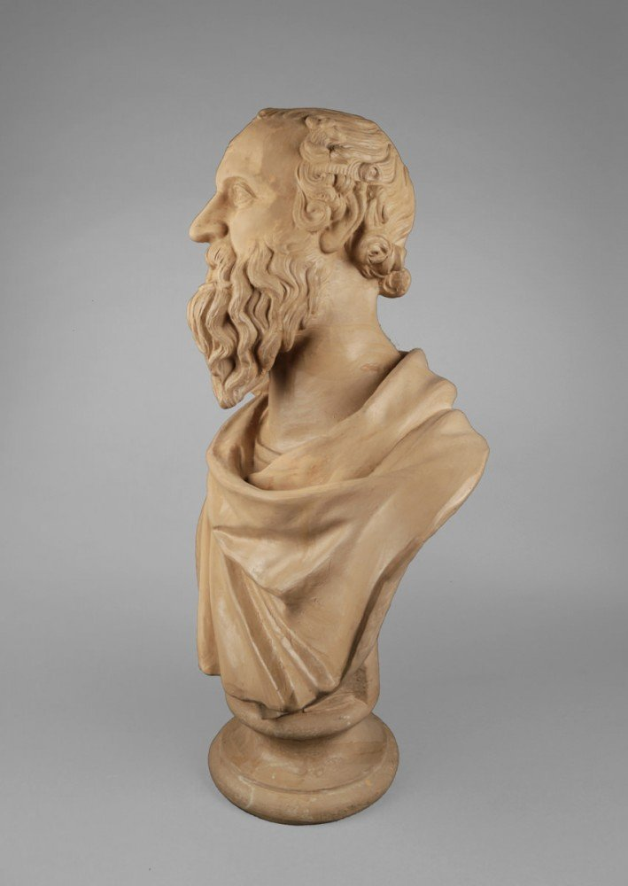 Pair of Terracotta Busts of Diogenes and Socrates by 20th Century Italian School