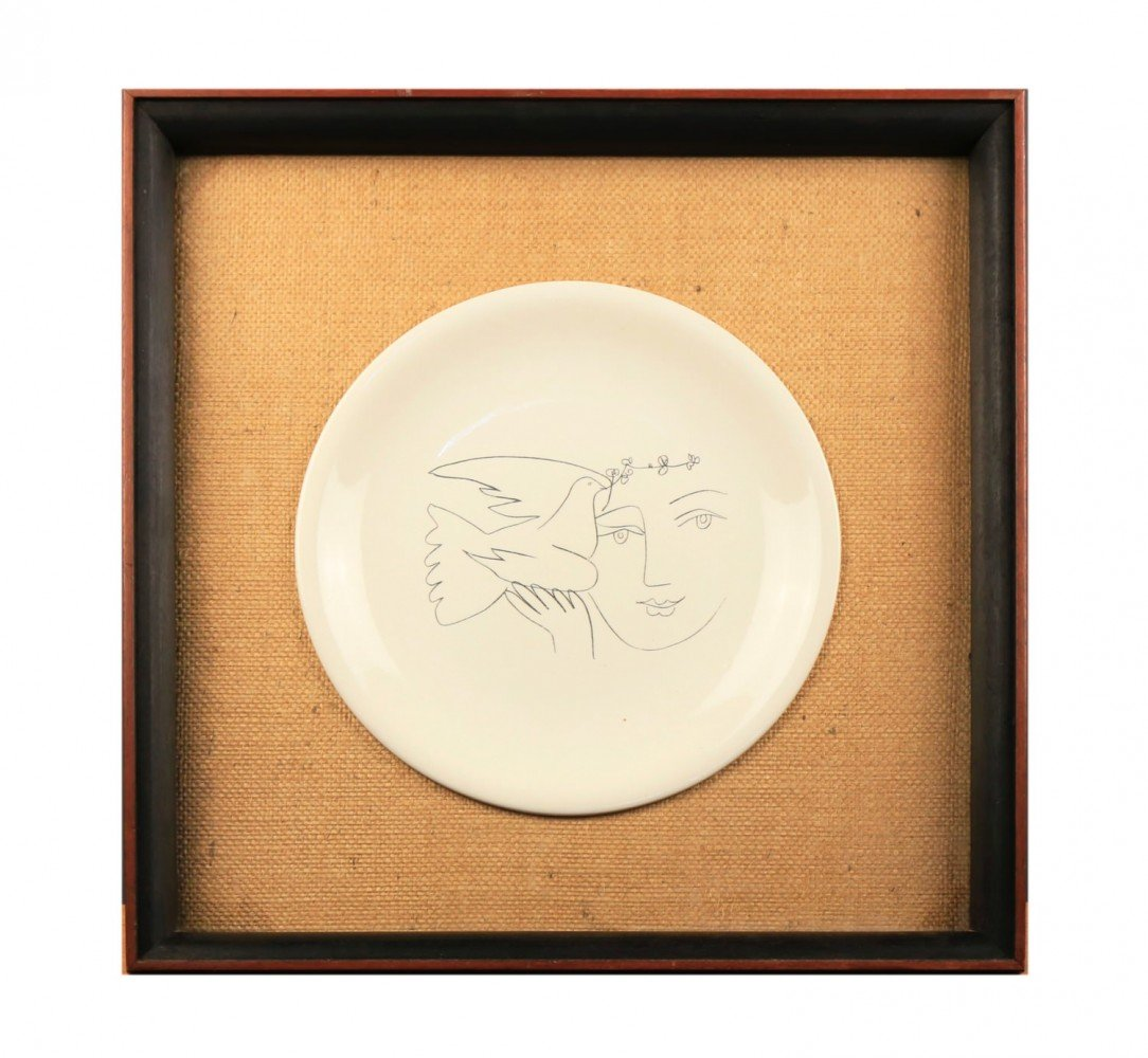 A Picasso Ceramic Charger for Salins-Woman and Dove