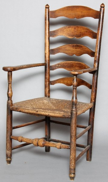 Late 17th c. American or English Rush Seat Pine Ladderback Armchair