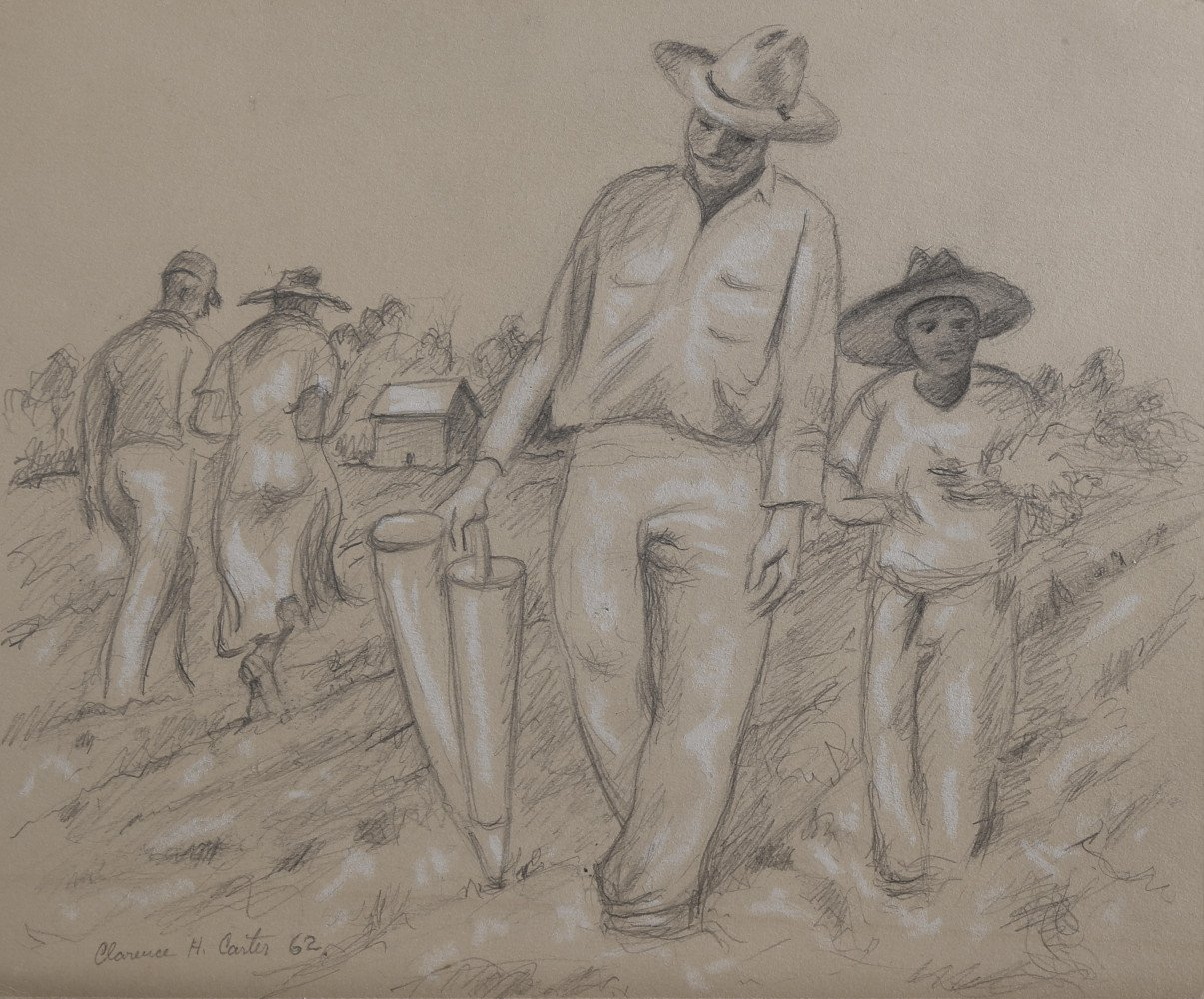 Figurative Graphite and White Heightening on Paper Drawing: