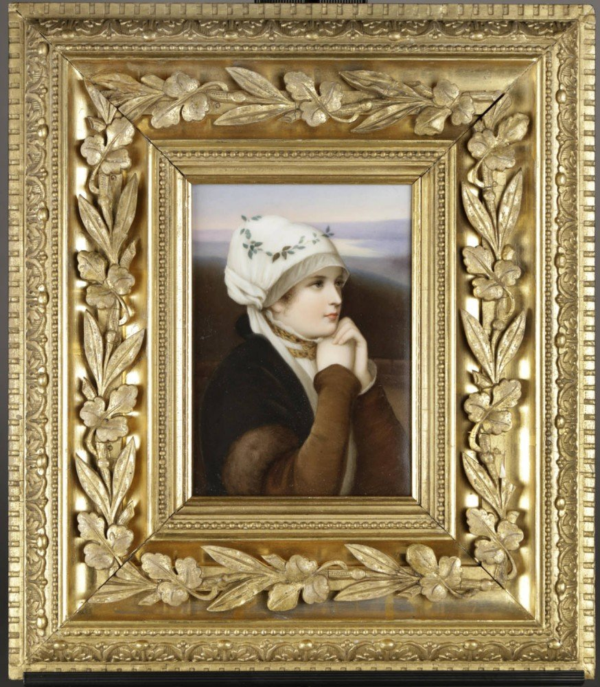 A Dresden Hand Painted Porcelain Plaque by 19th Century Continental School