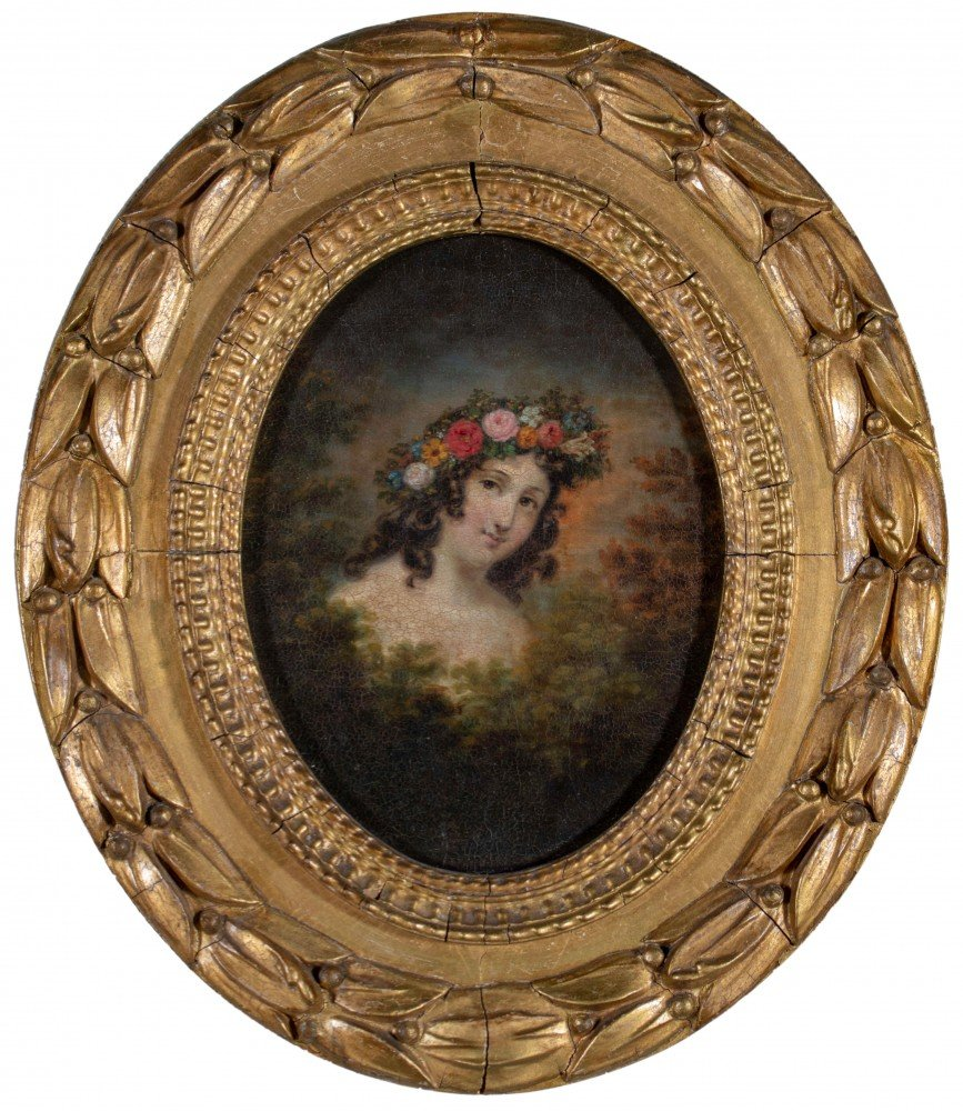 19th Century American Portrait of a Young Woman Adorned with Curls and Beautifully Painted Flower