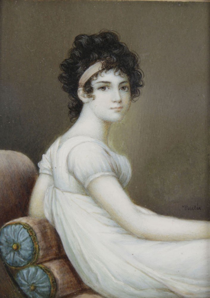 19thc. French Miniature Painting on Ivory, Josephine Bonaparte - after Jacques Louis David by Jacques Louis David