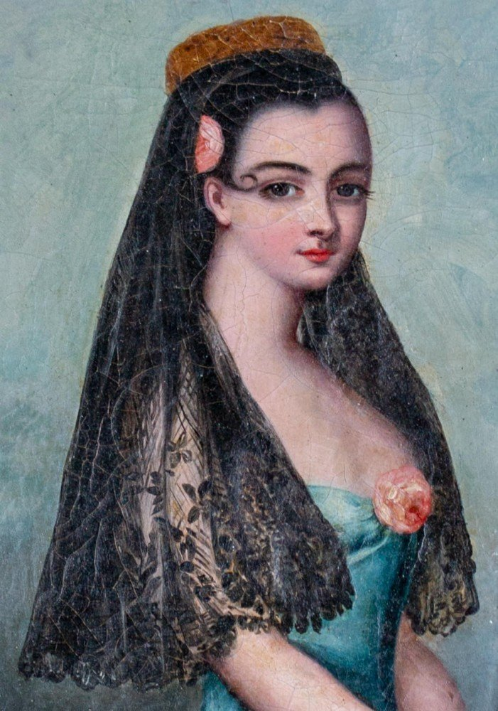 Provencal Portrait of Woman with Rose and Veil, 19th Century Spanish School
