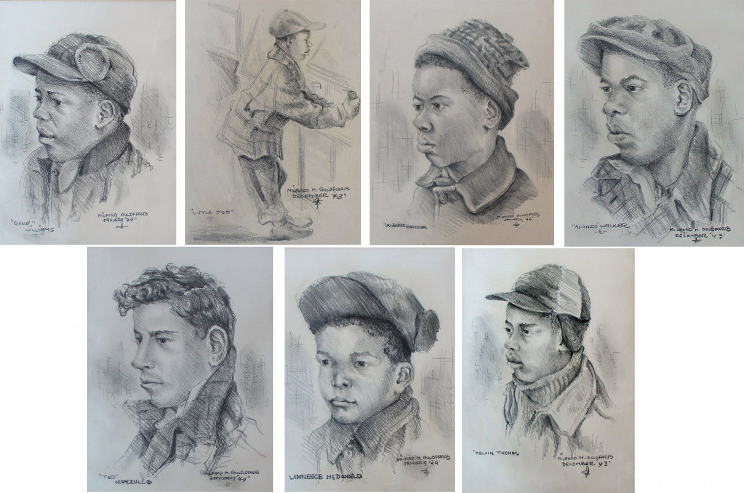 Lot of 7 Portrait Drawings by Milford Goldfarb