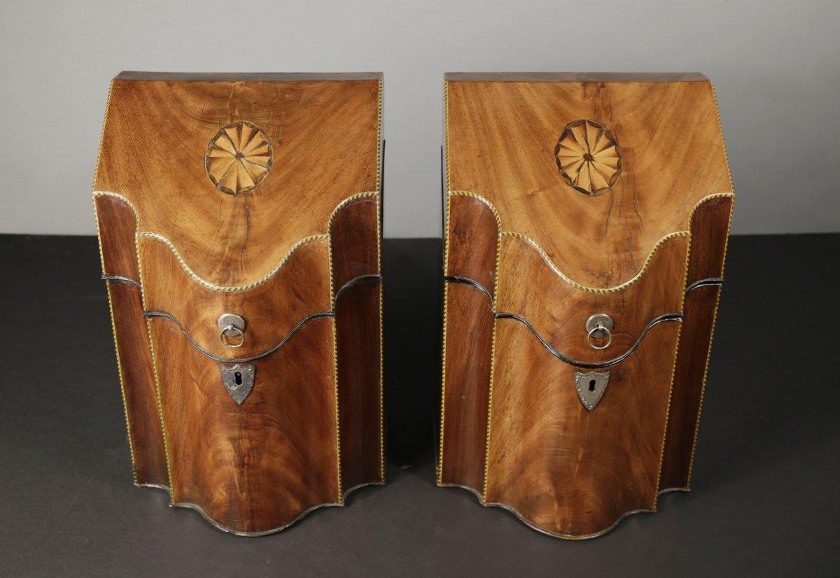 Pair of Georgian Mahogany Knife Boxes, c.1790