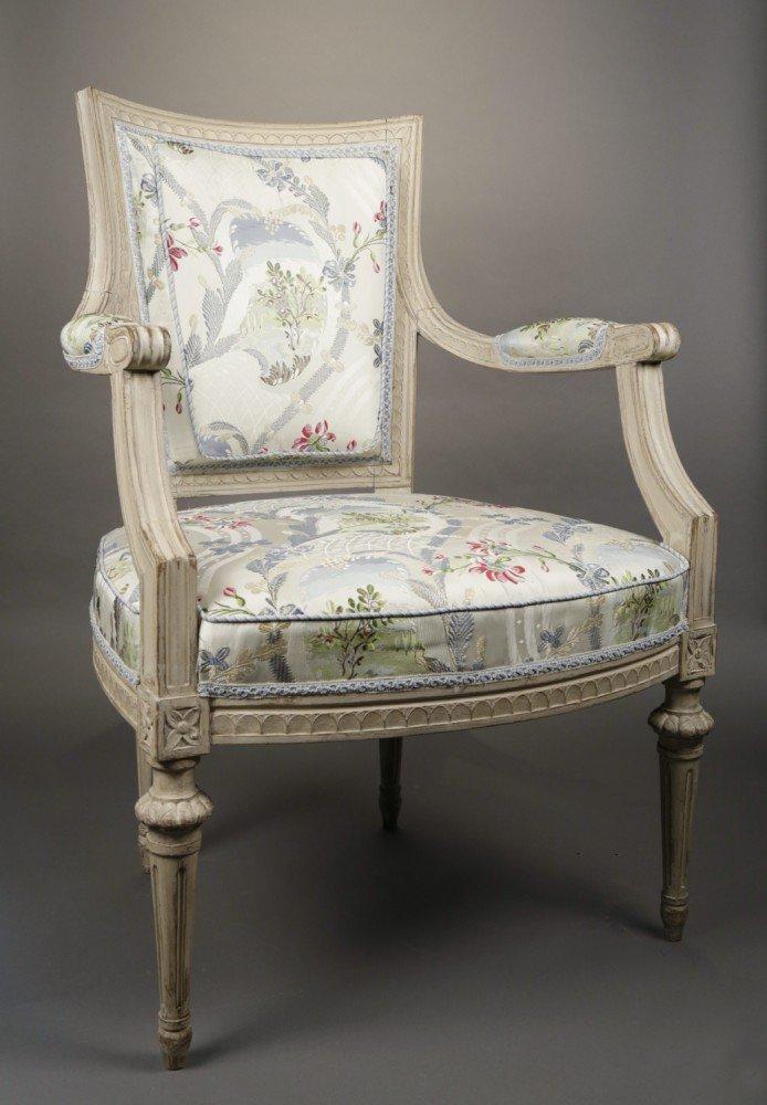 Pair of Louis XVI Grey Painted Fauteuils