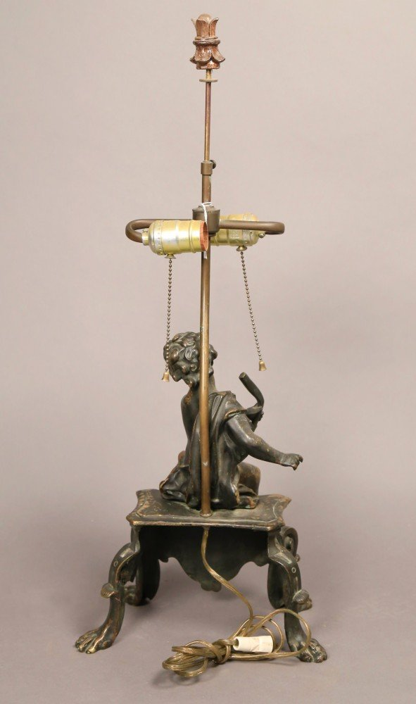 A French Bronze Figure of a Putto, Fitted as a Table Lamp, 19thc.