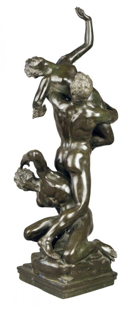 Figurative Bronze with Greenish Brown Patination Sculpture: