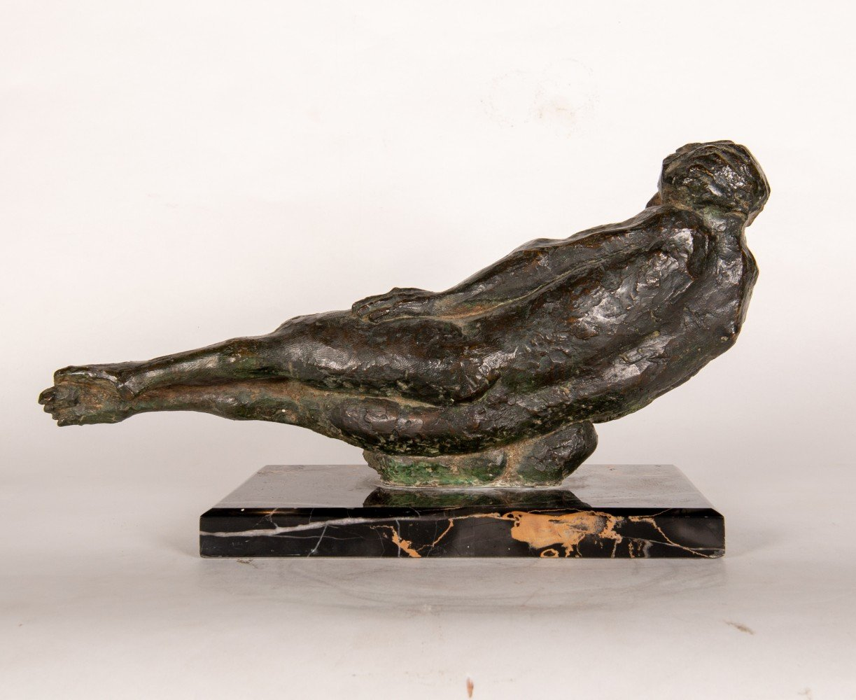 Figurative Bronze on Marble Base Sculpture:
