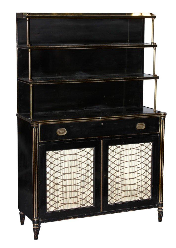 A Regency Style Ebonized Secretary Bookcase