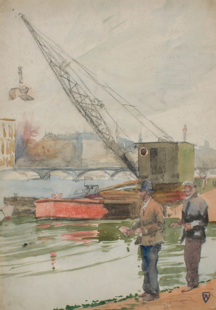 River Dredging Across from Magasins de la Samaritaines by Frank Nelson Wilcox