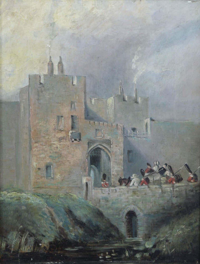 Carlyle Castle, Castle Gate and St Mary's Tower, a pair of paintings by Samuel Bough