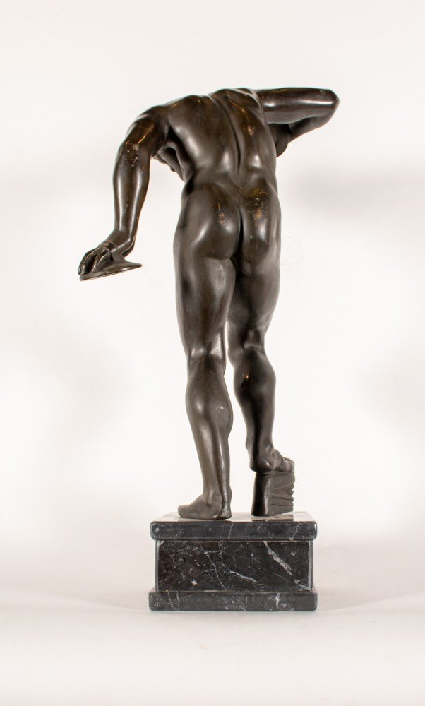 Figurative Bronze with Marble Base Sculpture: