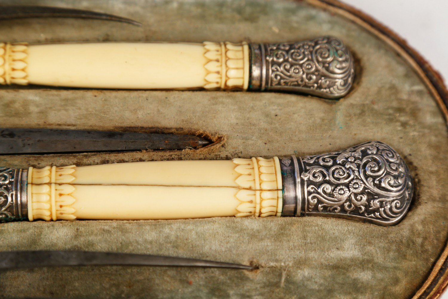 Late 19th Century Silver and Bone Carving Set