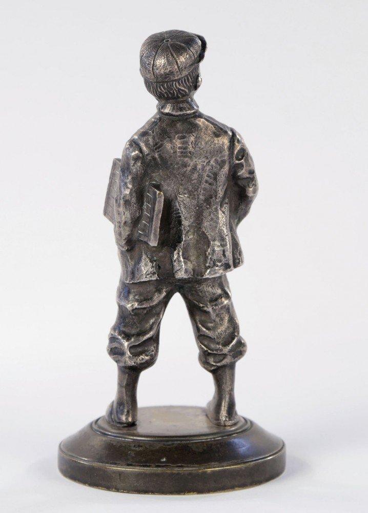 Figurative Silvered Bronze Sculpture: