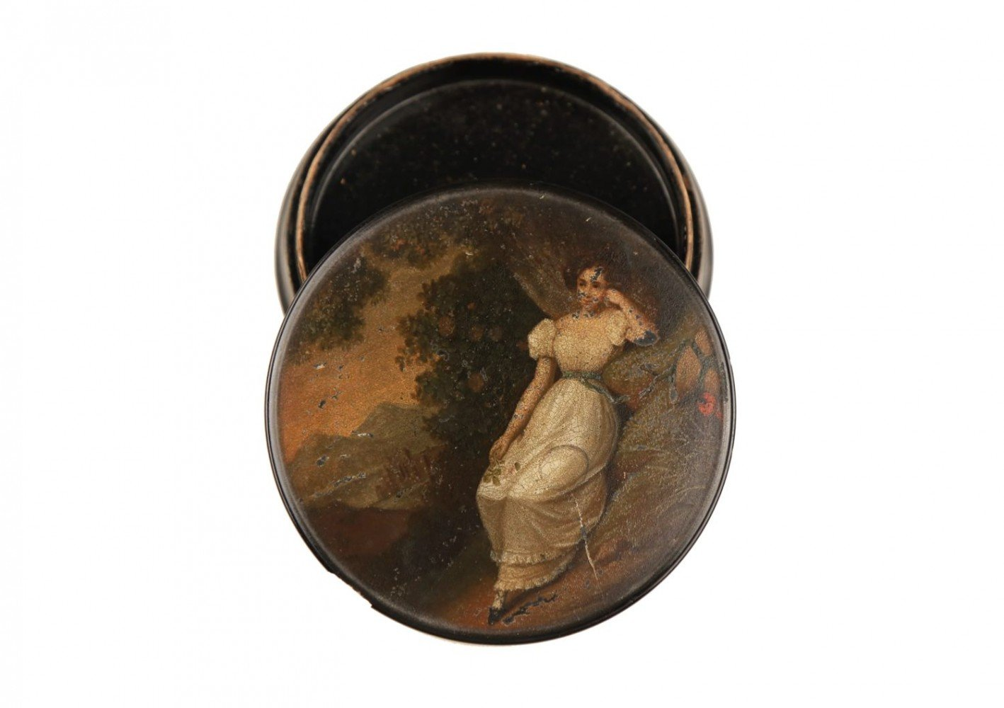 A German Hand Painted Papier Mache Snuff Box-Stobwasser Factory, Braunschweig, 19thc.