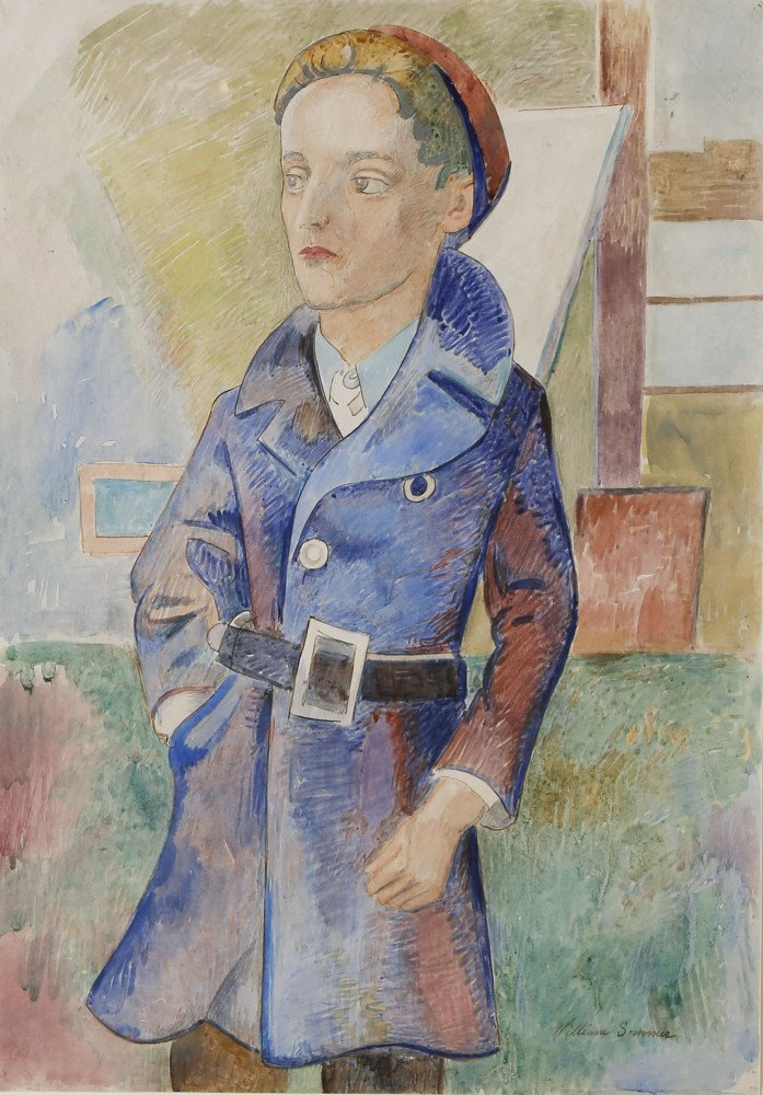 The Blue Overcoat (Portrait of Joe Cicora) by William Sommer