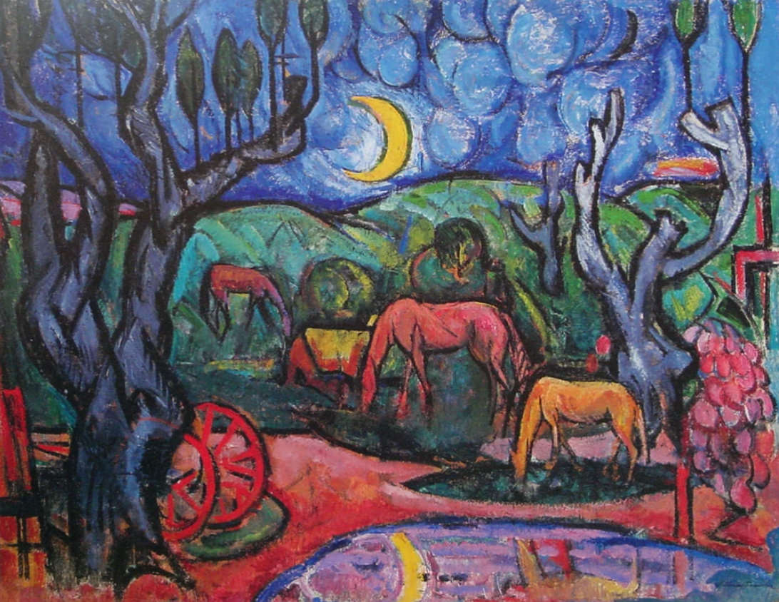 Horses at Moonlight by William Sommer