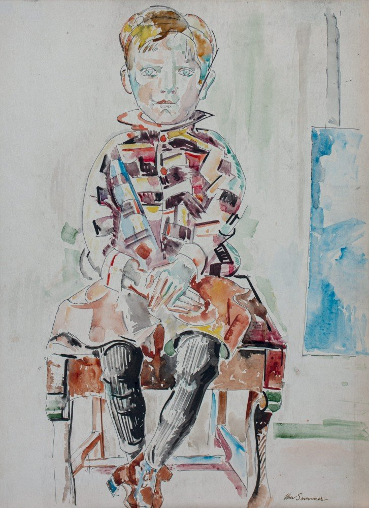 Figurative Watercolor and Ink on Paper Drawing: