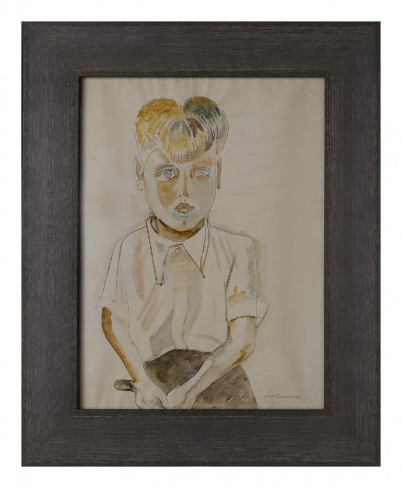 Seated Boy in White Shirt by William Sommer