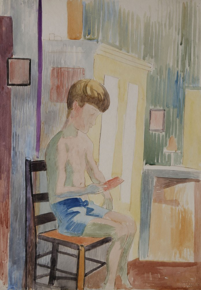 Shirtless Boy Reading by William Sommer