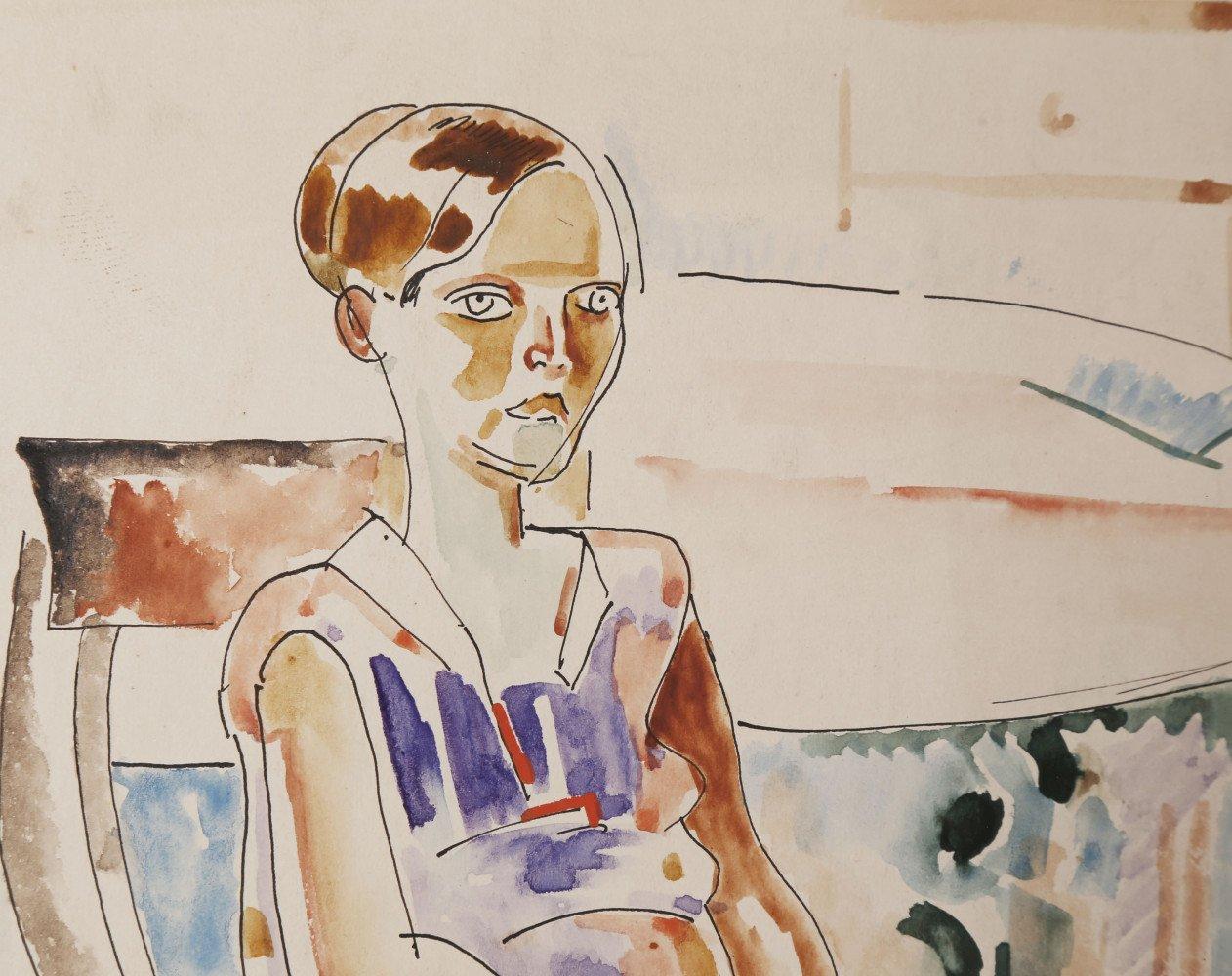 Tired Feet (Portrait of Tess Dominski) by William Sommer