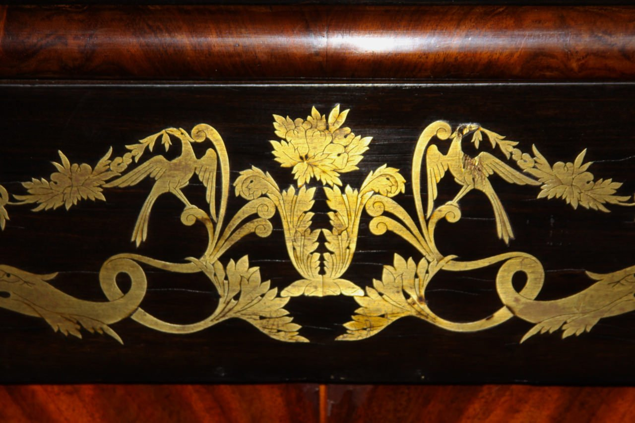 A Rosewood and Brass Inlaid Spanish Isabelino Cabinet