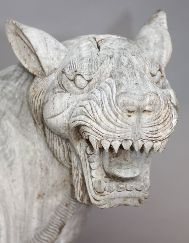 A Life Size 19thc. Southeast Asian Carved Teakwood Figure of a Tiger Striding and Roaring