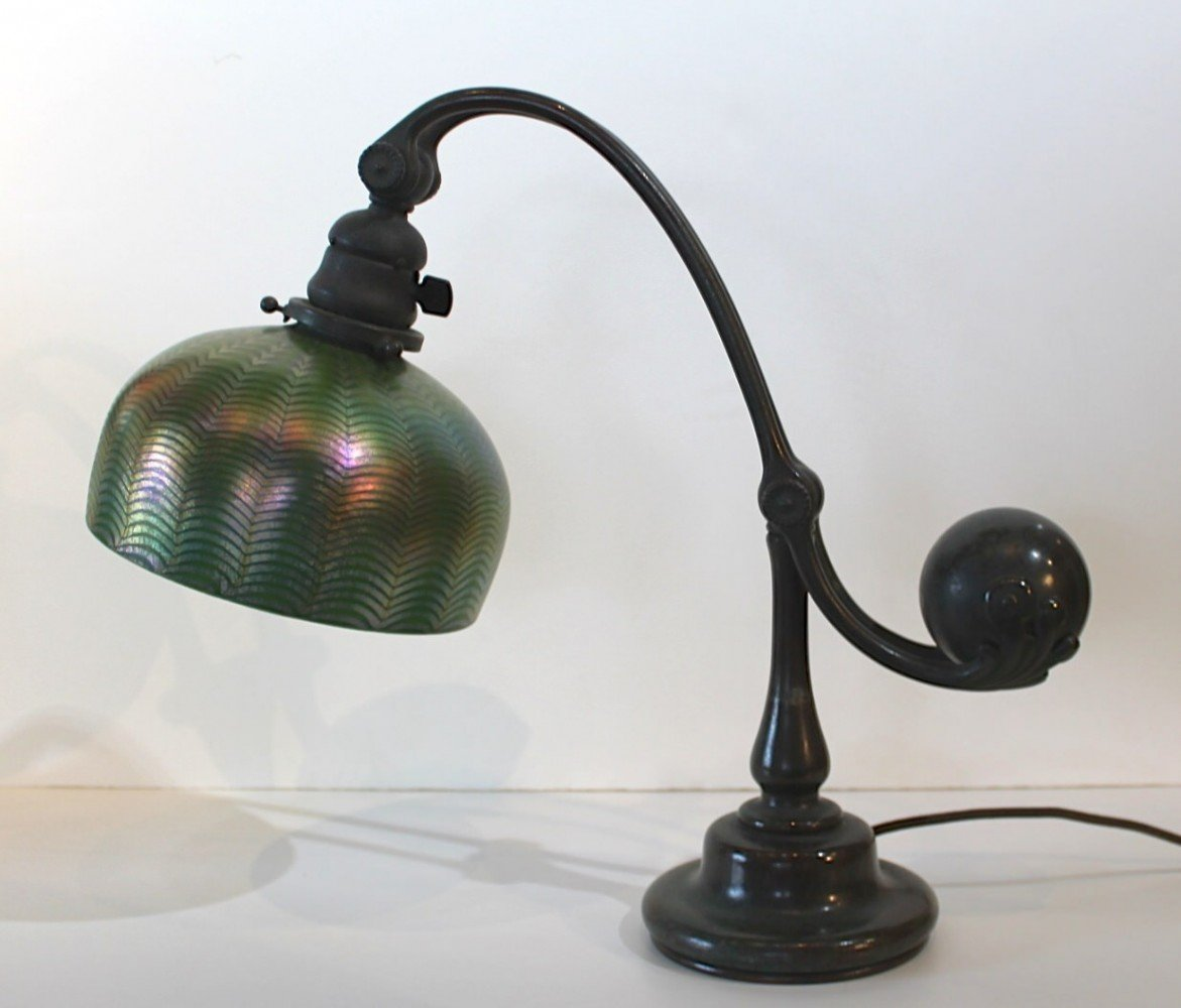 Tiffany Studios Bronze Counterbalance Desk Lamp with Damascene Shade by Tiffany Studios