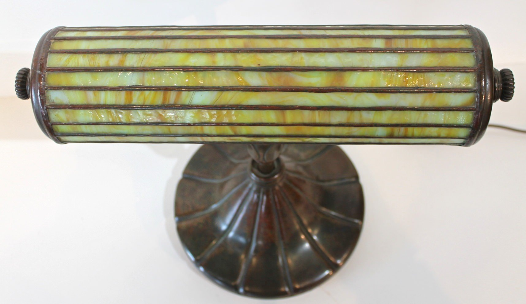 Rare Tiffany Studios Bronze and Leaded Glass Desk Lamp by Tiffany Studios