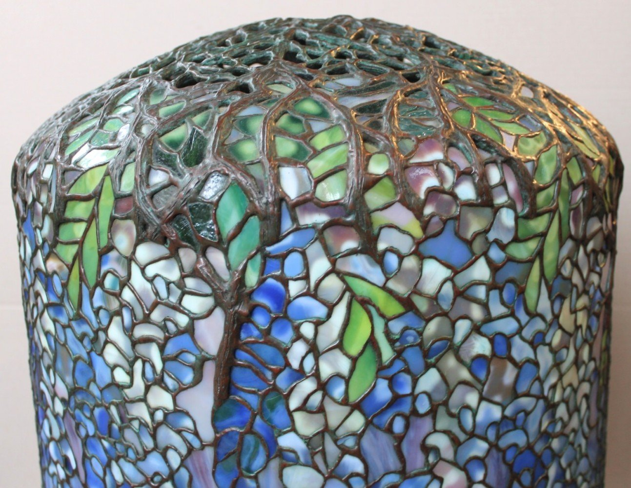 Tiffany Style Leaded Glass Wisteria Lamp, by Paul Crist Studios by Tiffany Studios