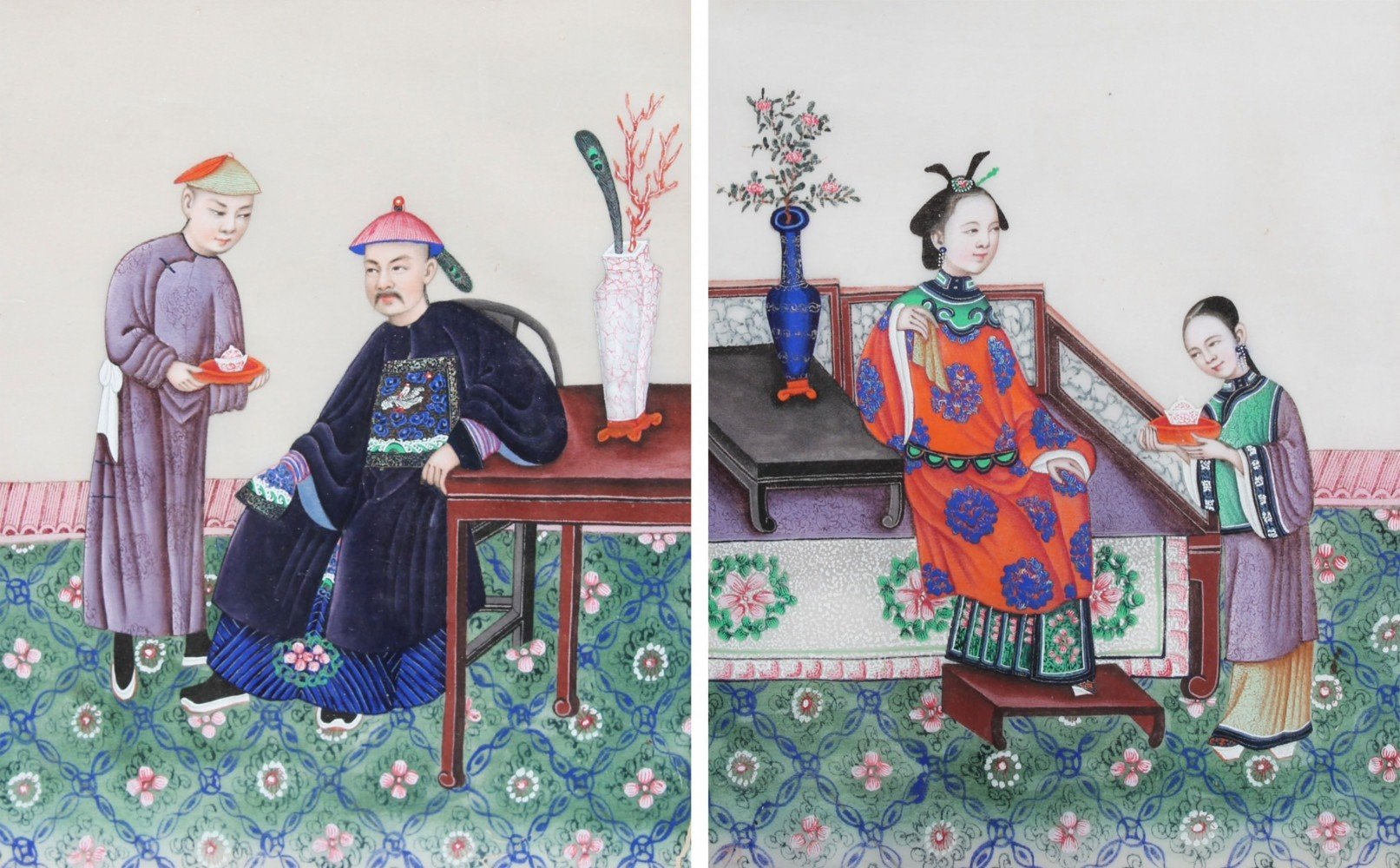 A Pair of Chinese Watercolor Paintings on Pith Paper by 19thc. Chinese School