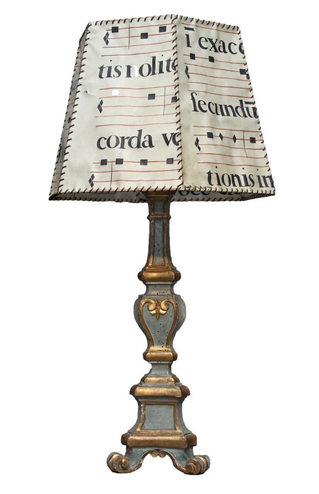 A Venetian Baroque Carved and Painted Wood Pricket Stick fitted as a Table Lamp - 18th century