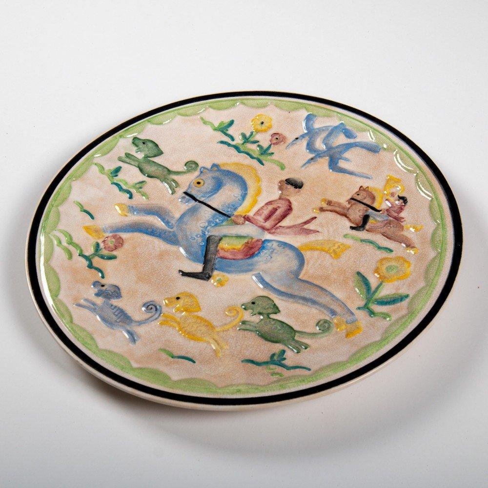 Figurative Glazed Ceramic Plate Sculpture: